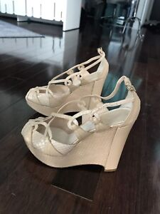 Authentic Christian Dior Python Wedge Sandals, Size 37.5
