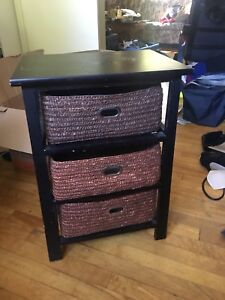 Bedside table with wicker drawers