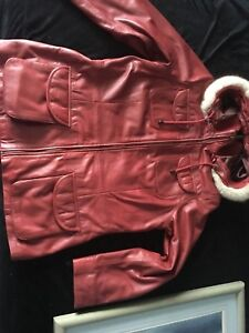Red leather transmission coat