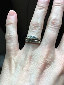 Size 5 Wedding Band and Engagement Ring Set