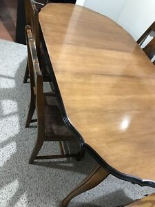 Refinished maple dining room table and 4 chairs