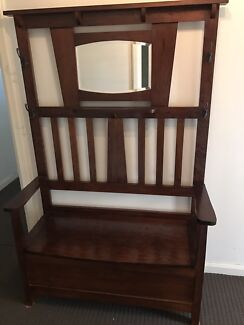 Hall stand with storage seat, mirror & 4 feature hooks