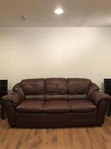 Burgundy leather Sofa & Recliners Chair