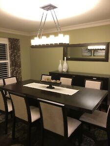 Espresso dining table and side board