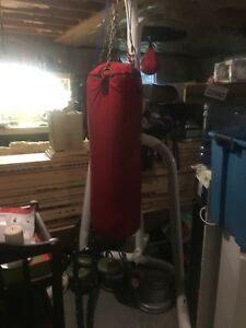 Boxing heavy bag, speed bag and stand