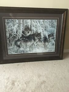 Beautiful framed wolf painting
