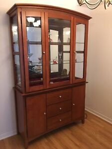 Wood and Glass Display Cabinet and Buffet (Like New)