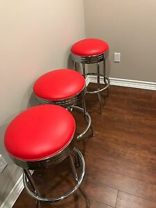 Red bar stools (3)