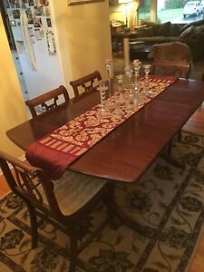 Duncan Phyfe drop leaf table and 6 chairs