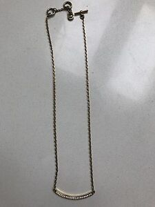 Gold Michael Kors Bar Necklace with Logo on back