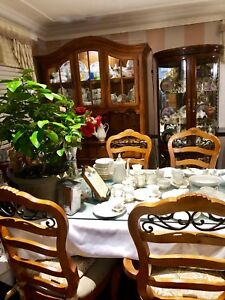 Vintage heavy solid dining table chairs and display cabinet