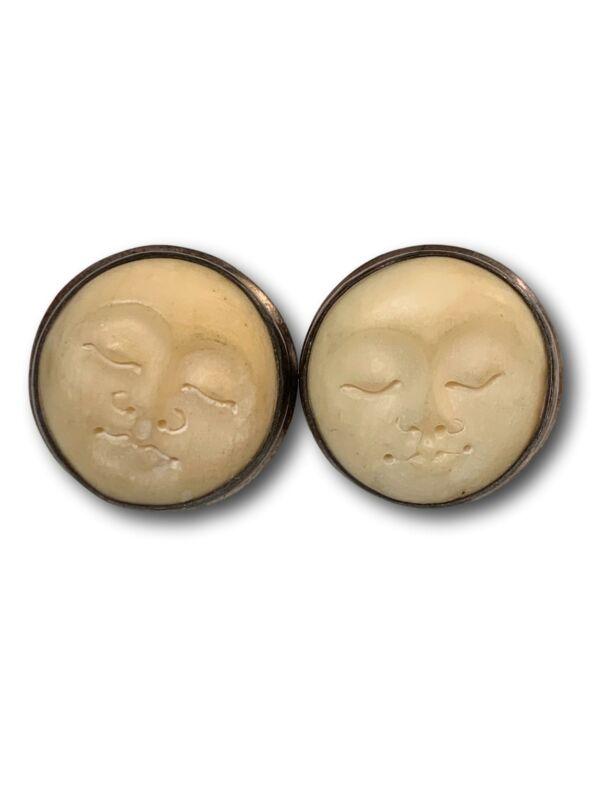 Vintage 925 Sterling silver Carved Moon face stud earrings looks like Plugs