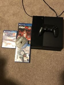 PS4 console, controller + games