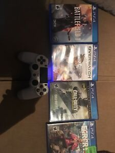 PS4 controller and games.