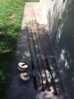 Vintage Alvey Sidecast Fishing Reel & Rods