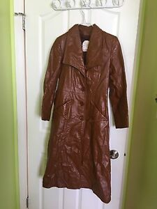 Real leather long trench coat jacket (sz: Small or Medium)