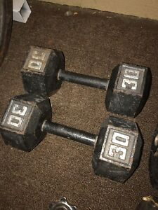 Two 30 pound dumbbells