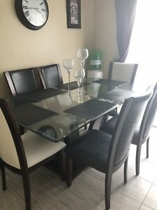 Glass and wood table set.  $400 O.B.O