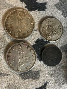 1859 Canadian penny and silver dollars
