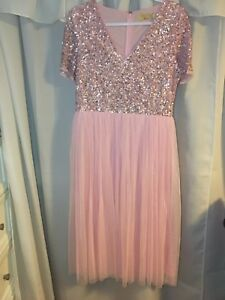 ASOS MAYA Brand pink sequin and tulle gown