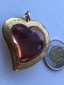 Vintage YVES SAINT LAURENT Rose Petal Heart Resin Pendant