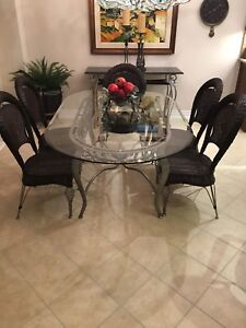 Palma Brava Kitchen/Dining table and six chairs with glass top