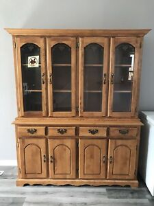 Maple dining table and China cabinet