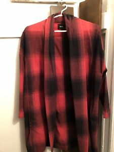 BDG Red & Plaid Oversize Coat Size XS