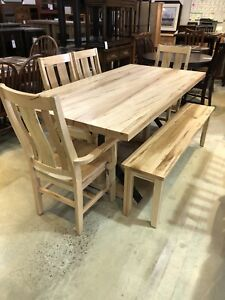FLOOR MODEL DINING SET - Maple 36x72 Bench/Chairs