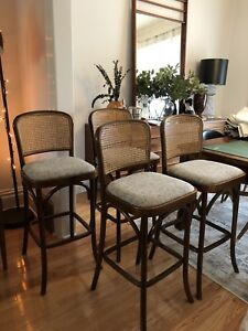 4x mint condition caned bentwood stools