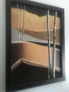 "Huge Art Wall Painting Black Frame like New by BRASKI 34""x44"""