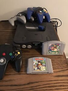 N64 with controllers and games