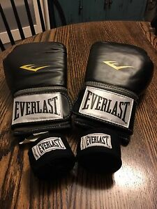 Everlast 12 oz pro style boxing gloves with free wraps