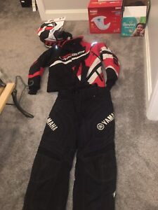 Red and black Yamaha viper suit plus helmet