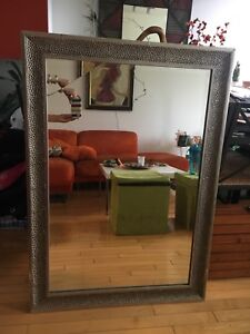 Large mirror wooden frame made into metal look