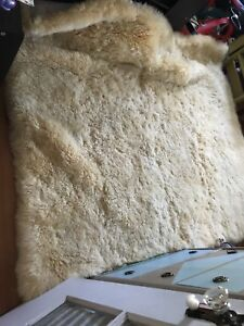 Sheep skin rug with quilted back