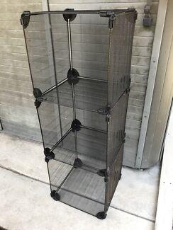 Industrial style black metal cube storage
