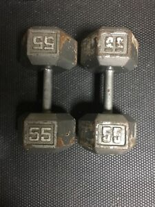 Two 55lbs dumbbells
