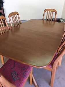 Teak Timber Extension Table with 6 chairs Yowie Bay Sutherland Area Preview