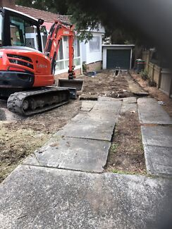 Tight access excavation landscaping excavator hire truck hire