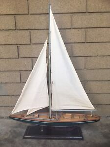 Handmade wooden scaled replica yacht clipper ship boat