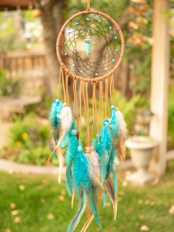 Meaning Brown & Teal Boho Dreamcatcher With Crystal Handmade Decor Native Americ