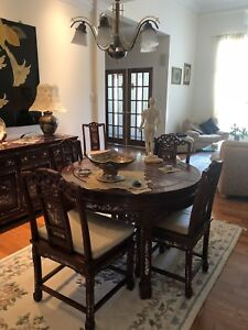 Complete Asia style cherry wood dining room set