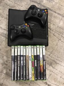 XBOX 360 with games and guitars. 250GB