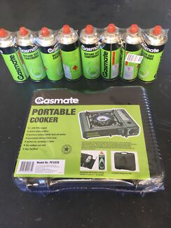 Gasmate portable cooker with 8 butane cartridges