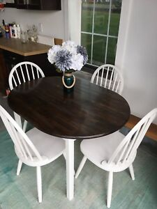 Newly Refinished Wood Dining Room Table Set & 4 Chairs