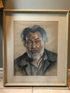 Framed Pastel portrait by R Collier