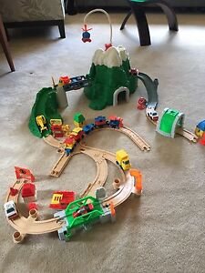 Fisher price train and car set with mountain