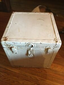 Vintage industrial small steamer trunk