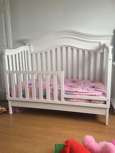 Crib, mattress, night table, dresser, guard rail, conversion kit